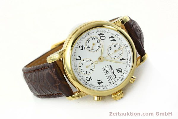 Used luxury watch Montblanc Meisterstück chronograph gold-plated automatic Kal. 4810501 ETA 7750 Ref. 7001  | 142619 03