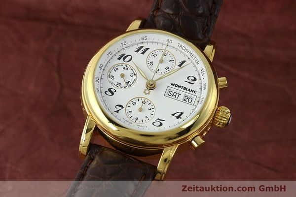 Used luxury watch Montblanc Meisterstück chronograph gold-plated automatic Kal. 4810501 ETA 7750 Ref. 7001  | 142619 04