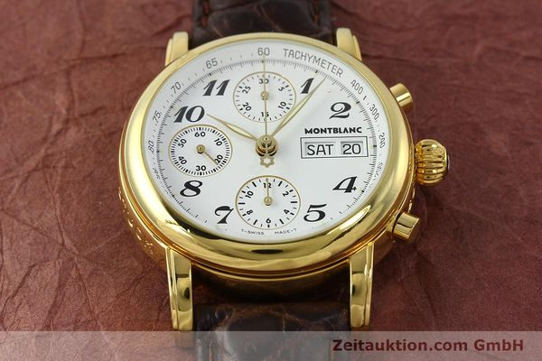 Used luxury watch Montblanc Meisterstück chronograph gold-plated automatic Kal. 4810501 ETA 7750 Ref. 7001  | 142619 14