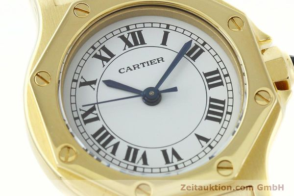 montre de luxe d occasion Cartier Santos or 18 ct automatique Kal. ETA 2670  | 142666 02