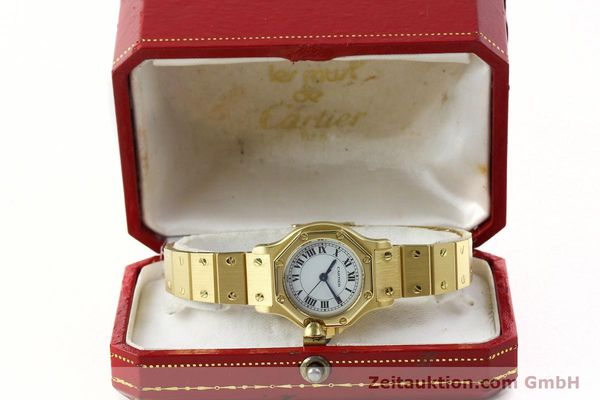 montre de luxe d occasion Cartier Santos or 18 ct automatique Kal. ETA 2670  | 142666 07