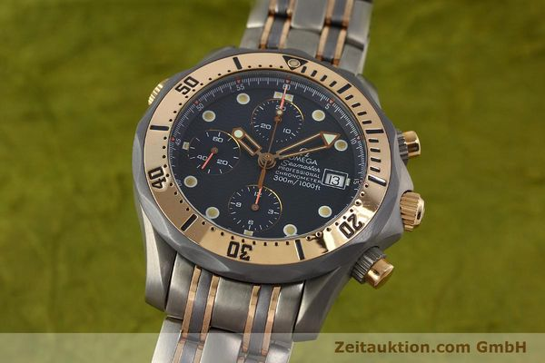 Used luxury watch Omega Seamaster chronograph titanium / gold automatic Kal. 1154 ETA 7750  | 142928 04