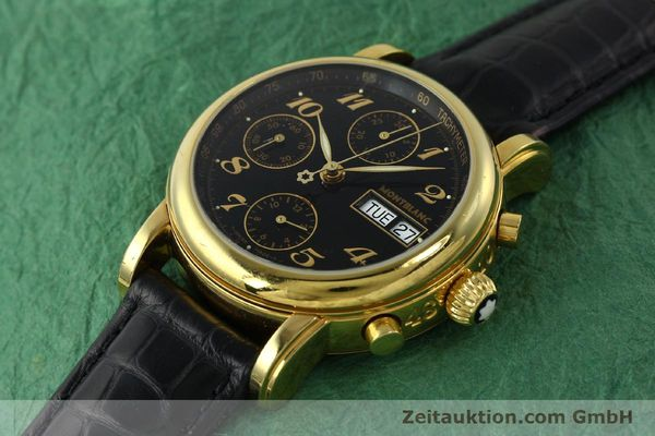 Used luxury watch Montblanc Meisterstück chronograph gold-plated automatic Kal. 4810501 ETA 7750 Ref. 7001  | 142966 01
