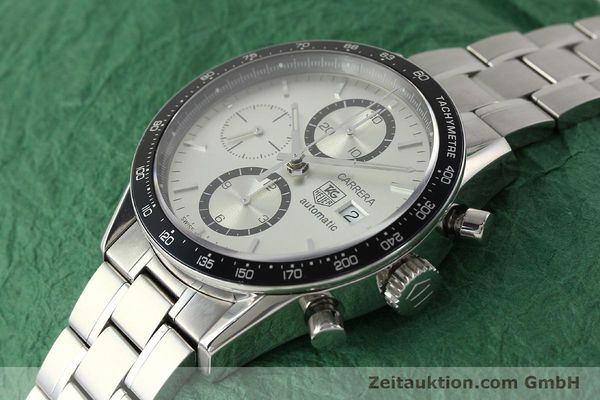 Used luxury watch Tag Heuer Carrera chronograph steel automatic Kal. 16 ETA 7750 Ref. CV2011-0  | 143001 01