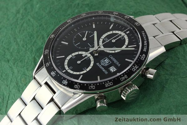 Used luxury watch Tag Heuer Carrera chronograph steel automatic Kal. 16 ETA 7750 Ref. CV2010-2  | 143005 01