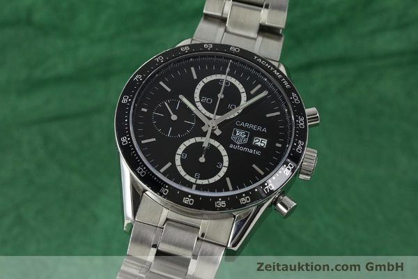 Used luxury watch Tag Heuer Carrera chronograph steel automatic Kal. 16 ETA 7750 Ref. CV2010-2  | 143005 04