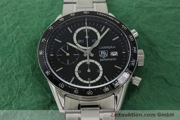 Used luxury watch Tag Heuer Carrera chronograph steel automatic Kal. 16 ETA 7750 Ref. CV2010-2  | 143005 15