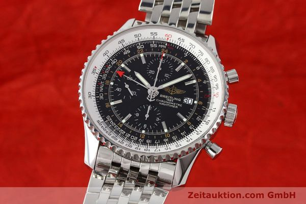 Used luxury watch Breitling Navitimer World chronograph steel automatic Kal. B24 ETA 7754 Ref. A24322  | 143039 04