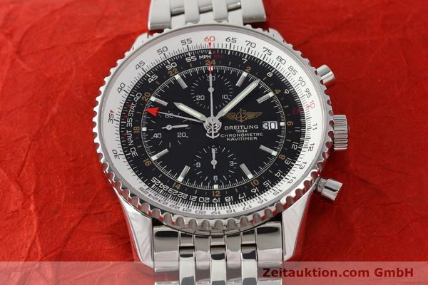 Used luxury watch Breitling Navitimer World chronograph steel automatic Kal. B24 ETA 7754 Ref. A24322  | 143039 15