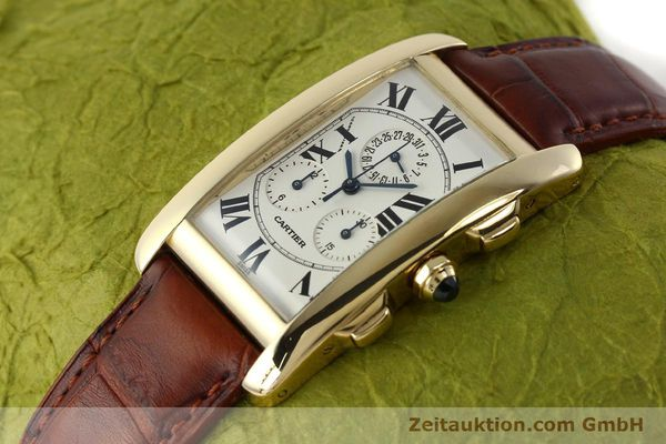 Used luxury watch Cartier Tank chronograph 18 ct gold quartz Kal. 212P  | 143071 01