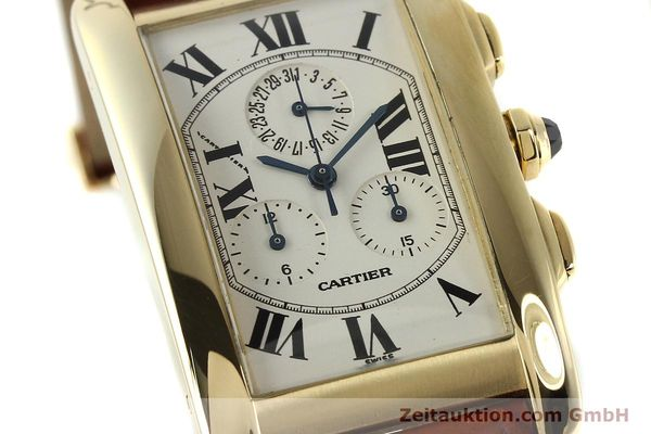Used luxury watch Cartier Tank chronograph 18 ct gold quartz Kal. 212P  | 143071 02