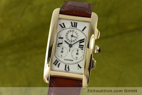 Used luxury watch Cartier Tank chronograph 18 ct gold quartz Kal. 212P  | 143071 04