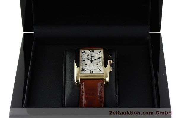 Used luxury watch Cartier Tank chronograph 18 ct gold quartz Kal. 212P  | 143071 07