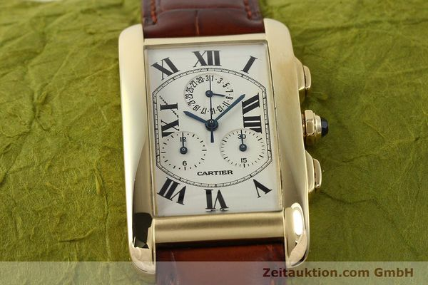 Used luxury watch Cartier Tank chronograph 18 ct gold quartz Kal. 212P  | 143071 16