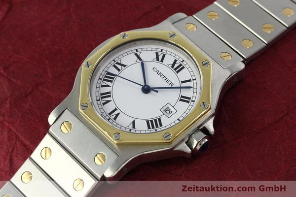 Used luxury watch Cartier Santos steel / gold automatic Kal. ETA 2671  | 150513 01