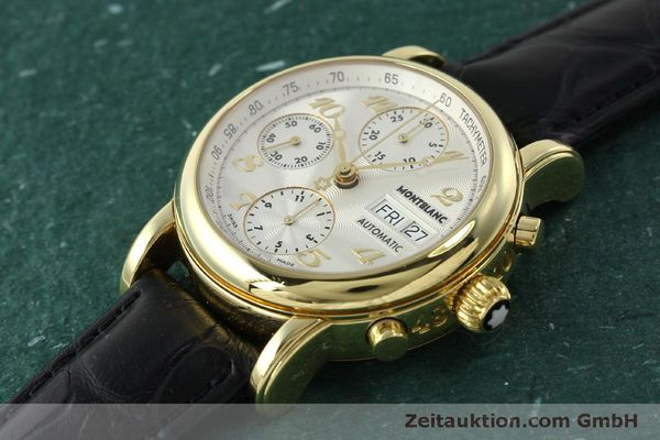 Used luxury watch Montblanc Meisterstück chronograph 18 ct gold automatic Kal. 4810501 Ref. 7000  | 150535 01