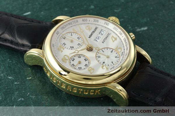 Used luxury watch Montblanc Meisterstück chronograph 18 ct gold automatic Kal. 4810501 Ref. 7000  | 150535 16