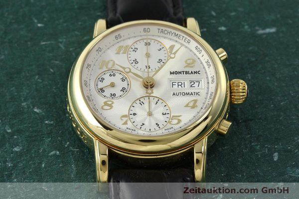 Used luxury watch Montblanc Meisterstück chronograph 18 ct gold automatic Kal. 4810501 Ref. 7000  | 150535 17