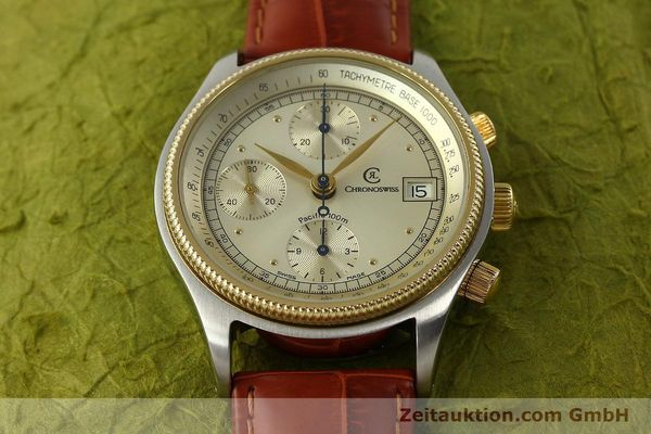 gebrauchte Luxusuhr Chronoswiss Pacific Chronograph Stahl / Gold Automatik Kal. 7414 VAL 7750  | 150647 14