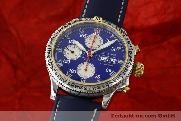 Used luxury watch Longines Lindbergh Stundenwinkel chronograph steel / gold automatic Kal. L674.7 Ref. L2.618.5  | 150783 04