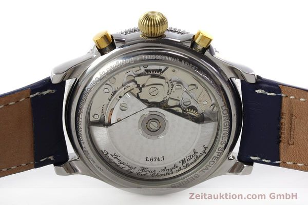 Used luxury watch Longines Lindbergh Stundenwinkel chronograph steel / gold automatic Kal. L674.7 Ref. L2.618.5  | 150783 09