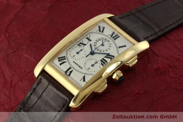 Used luxury watch Cartier Tank chronograph 18 ct gold quartz Kal. 212P  | 150903 01