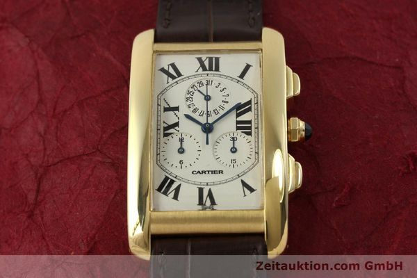 Used luxury watch Cartier Tank chronograph 18 ct gold quartz Kal. 212P  | 150903 02