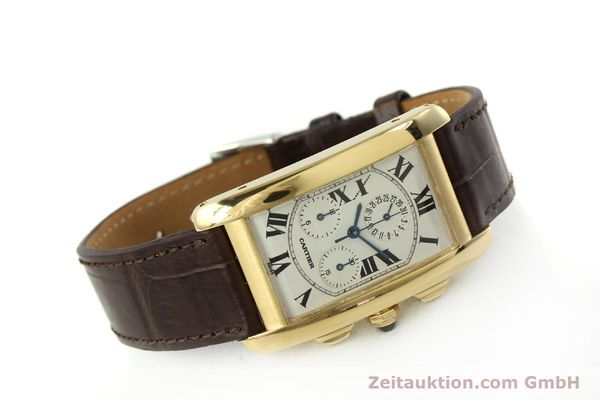 Used luxury watch Cartier Tank chronograph 18 ct gold quartz Kal. 212P  | 150903 03