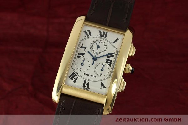 Used luxury watch Cartier Tank chronograph 18 ct gold quartz Kal. 212P  | 150903 04