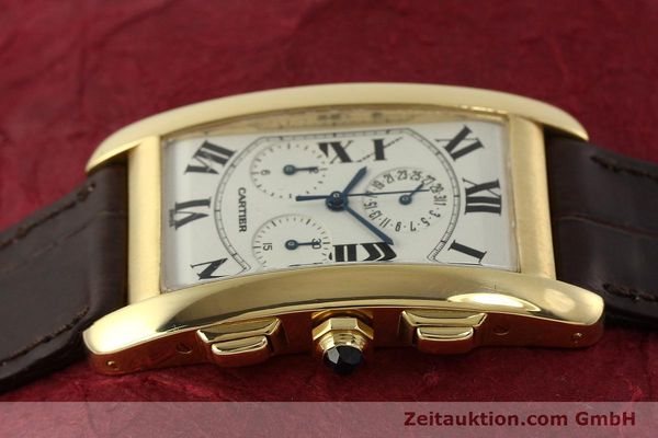 Used luxury watch Cartier Tank chronograph 18 ct gold quartz Kal. 212P  | 150903 05