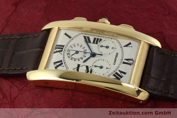 Used luxury watch Cartier Tank chronograph 18 ct gold quartz Kal. 212P  | 150903 11
