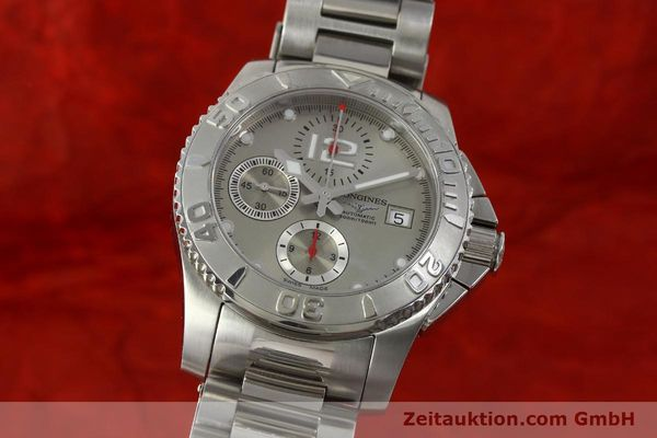 Used luxury watch Longines Hydro Conquest chronograph steel automatic Kal. L 667.2 ETA 7750 Ref. 9165 L3.673.4  | 151213 04