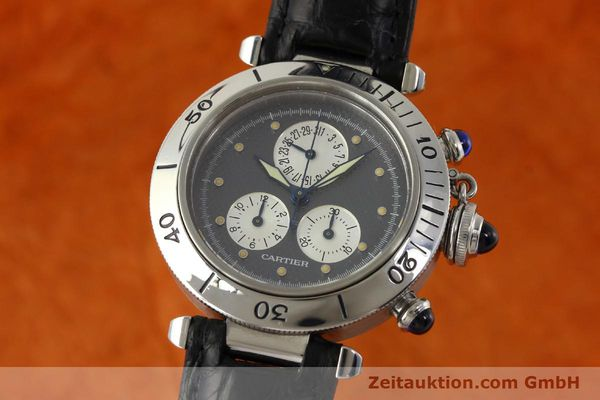 Used luxury watch Cartier Pasha chronograph steel quartz Kal. 212 P  | 151294 04