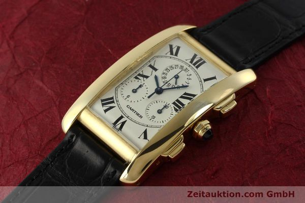 montre de luxe d occasion Cartier Tank chronographe or 18 ct quartz Kal. 212P  | 151390 01