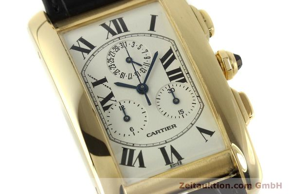 montre de luxe d occasion Cartier Tank chronographe or 18 ct quartz Kal. 212P  | 151390 02