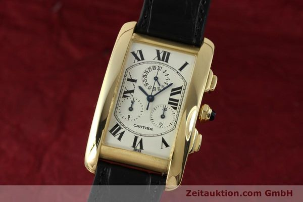 montre de luxe d occasion Cartier Tank chronographe or 18 ct quartz Kal. 212P  | 151390 04