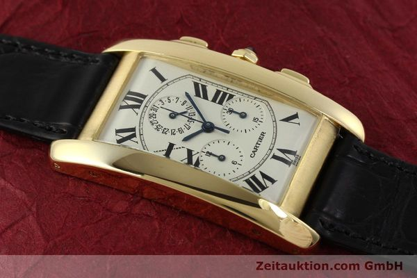 montre de luxe d occasion Cartier Tank chronographe or 18 ct quartz Kal. 212P  | 151390 12