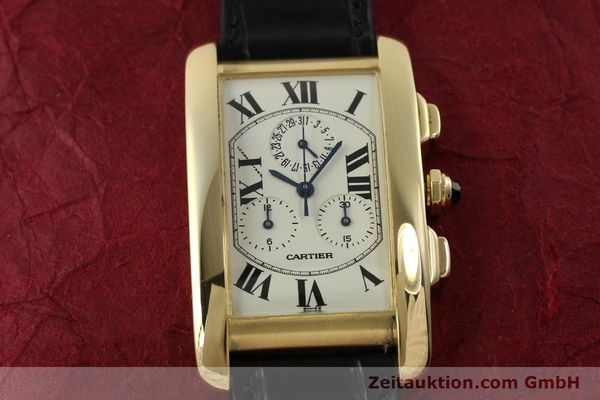 montre de luxe d occasion Cartier Tank chronographe or 18 ct quartz Kal. 212P  | 151390 13
