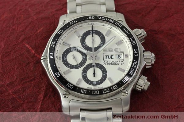Used luxury watch Ebel 1911 chronograph steel automatic Kal. E 750 ETA 7750 Ref. 9750L62  | 151417 15