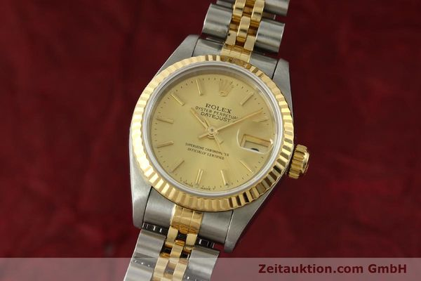 rolex lady oyster datejust gold stahl damenuhr automatik. Black Bedroom Furniture Sets. Home Design Ideas