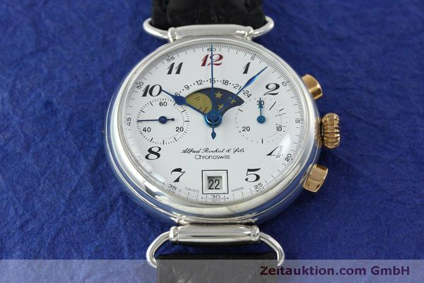 Used luxury watch Chronoswiss A. Rochat chronograph silver manual winding Kal. Valj. 7733  | 151733 16
