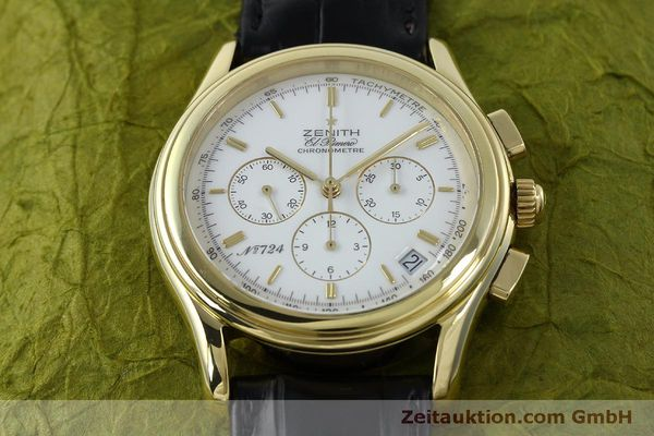 Used luxury watch Zenith Elprimero chronograph 18 ct gold automatic Kal. 400 Ref. 30.0220.400  | 151781 15
