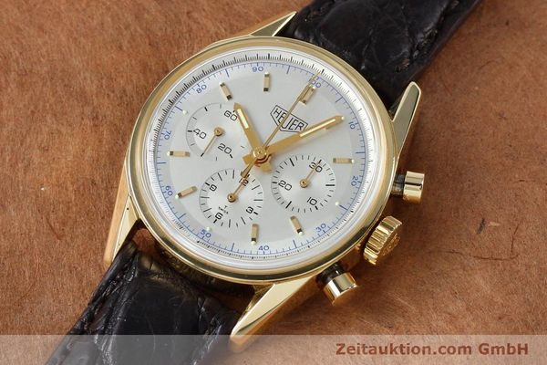 montre de luxe d occasion Tag Heuer Carrera chronographe or 18 ct remontage manuel Kal. LWO1873 Ref. CS3140  | 151984 01