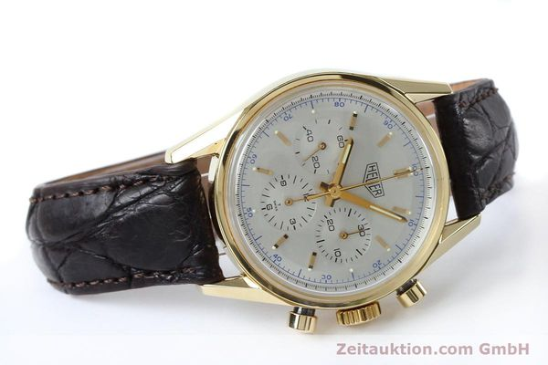 montre de luxe d occasion Tag Heuer Carrera chronographe or 18 ct remontage manuel Kal. LWO1873 Ref. CS3140  | 151984 03