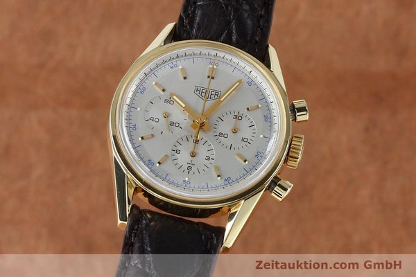 montre de luxe d occasion Tag Heuer Carrera chronographe or 18 ct remontage manuel Kal. LWO1873 Ref. CS3140  | 151984 04
