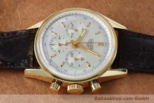 montre de luxe d occasion Tag Heuer Carrera chronographe or 18 ct remontage manuel Kal. LWO1873 Ref. CS3140  | 151984 05