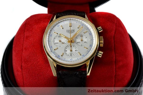 montre de luxe d occasion Tag Heuer Carrera chronographe or 18 ct remontage manuel Kal. LWO1873 Ref. CS3140  | 151984 07