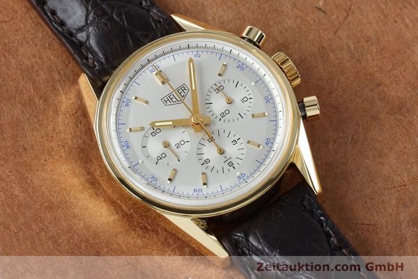 montre de luxe d occasion Tag Heuer Carrera chronographe or 18 ct remontage manuel Kal. LWO1873 Ref. CS3140  | 151984 14