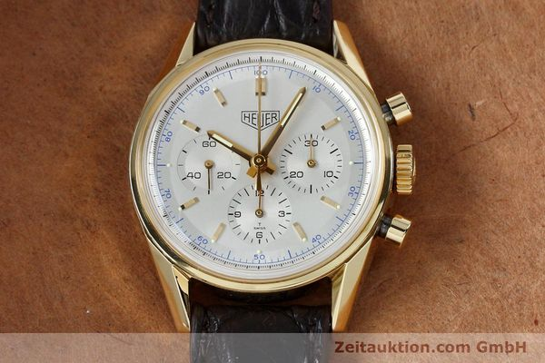 montre de luxe d occasion Tag Heuer Carrera chronographe or 18 ct remontage manuel Kal. LWO1873 Ref. CS3140  | 151984 15