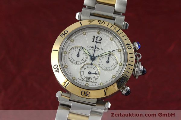 Used luxury watch Cartier Pasha chronograph steel / gold automatic Kal. 205  | 152233 04